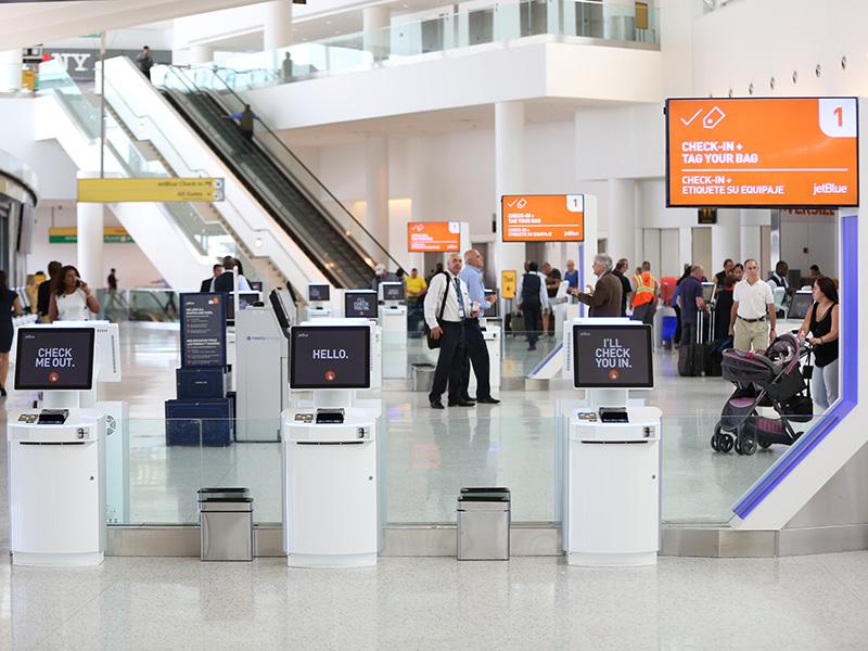 Embross airport kiosk
